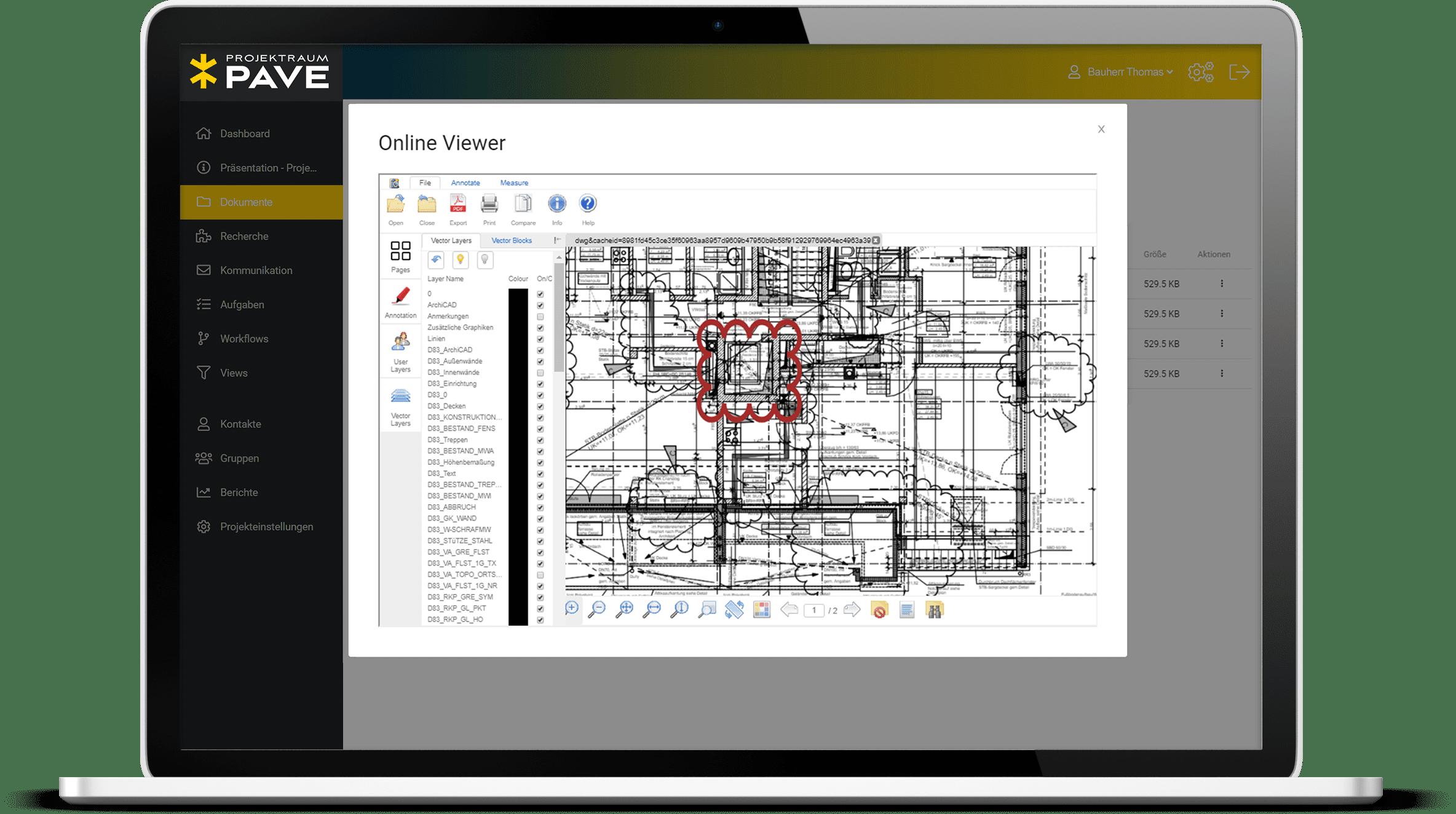 Online Viewer vom Projektraum Pave. Ansicht eines Bauplans mit roter Markierung